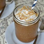 Peanut Butter Chocolate Milkshake chilled glasses jar straw crushed peanuts whipped topping