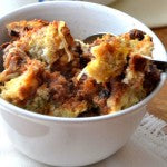 Peanut Butter Cinnamon Coconut Bread Pudding Finished and Served in Bowl