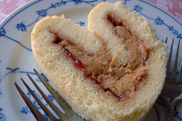 Heart Shaped Peanut Butter & Jelly Roll
