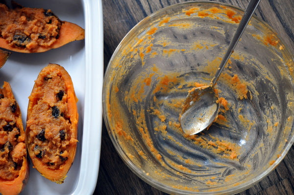 Twice Baked Cinnamon Raisin Swirl Sweet Potatoes - Spoon mixture back into potato skins and bake for 8-10 minutes