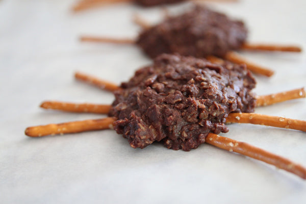 No Bake Peanut Butter Cocoa Pretzel Spiders - Drop by heaping tablespoons onto your pretzels so they look like the spider legs