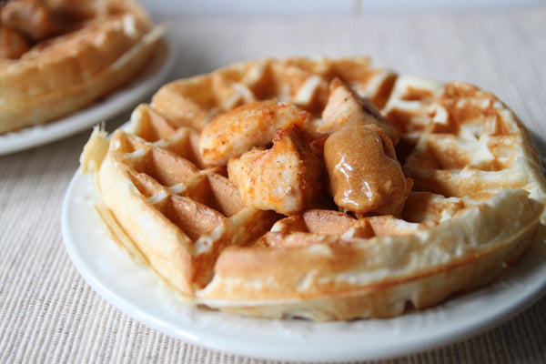Chicken Bites and Peanut Butter Waffles with PB and Honey Glaze - drizzle the peanut butter/honey mixture over the chicken and waffles
