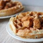 Chicken Bites and Peanut Butter Waffles with PB and Honey Glaze