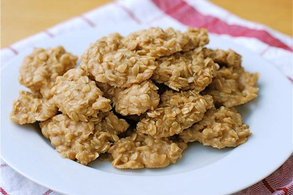 No-Bake White Chocolate Peanut Butter Oatmeal Cookies - Lift off the wax paper with a spatula and enjoy!