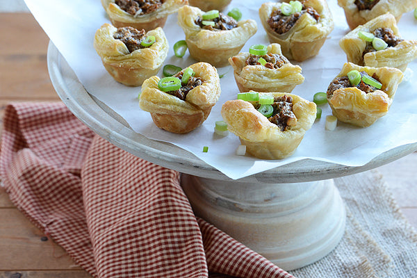 Peanut Butter, Bacon, & Leek Bites - Sprinkle scallion on top and serve