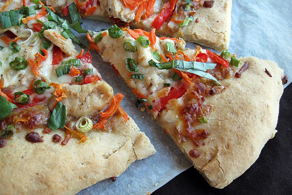 Thai Chicken Pizza with Peanut Butter Sauce