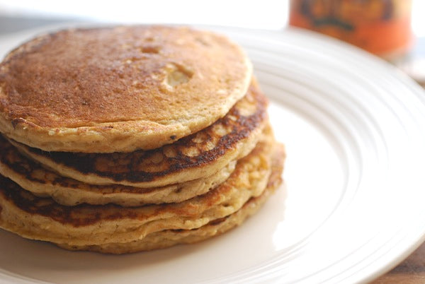 Peanut Butter Oatmeal Pancakes - Serve topped with additional pats of butter and warm maple syrup