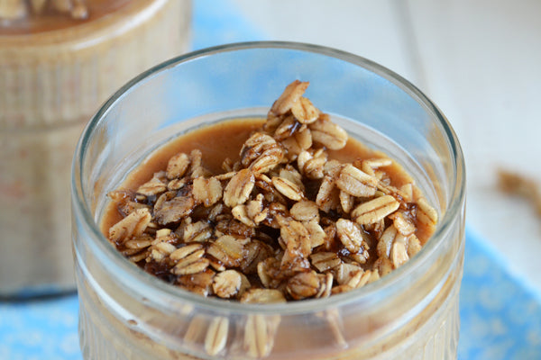 Peanut Butter & Oat Carrot Cake Breakfast Pudding with Candied Oats - Serve warm or chilled, with the candied oats sprinkled on top