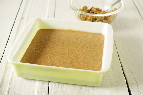 Good Morning Peanut Butter and Oats Coffee Cake - Pour into the prepared baking pan