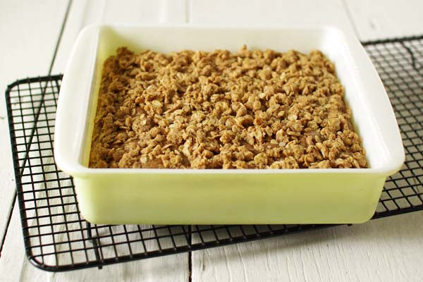 Good Morning Peanut Butter and Oats Coffee Cake - Allow to cool 10 minutes and serve warm