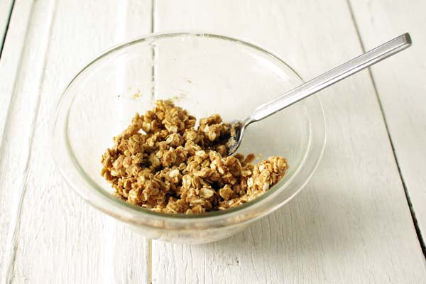 Good Morning Peanut Butter and Oats Coffee Cake - stir together the oats, flour, nutmeg, and brown sugar