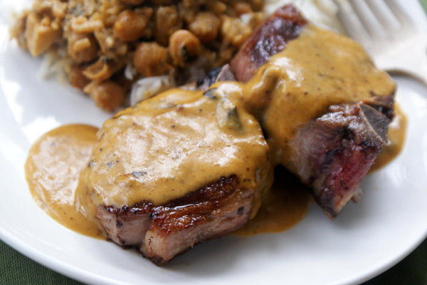 Seared Lamb Chops with Curried Peanut Butter Sauce