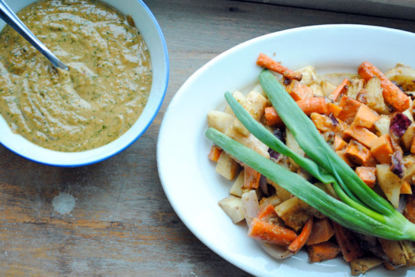 Asian-Inspired Roast Peanut Butter Chicken - Serve roast chicken pieces and vegetables with the last and final third of the peanut butter sauce/marinade