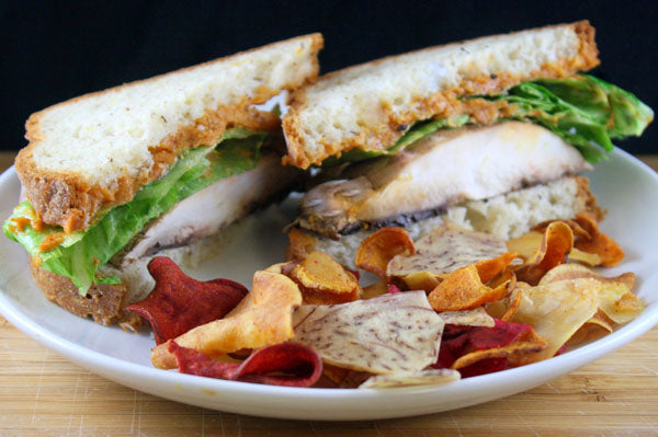 Portabella Sandwiches with Roasted Garlic Red Pepper Peanut Butter Spread - Slice in half and serve at room temperature