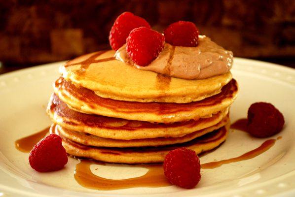 Peanut Butter Pancakes with Chocolate Yogurt Cream