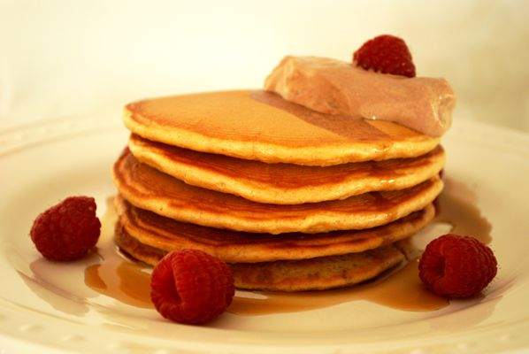Peanut Butter Pancakes with Chocolate Yogurt Cream - Place generous dollops of the topping on each plate of pancakes