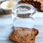 Cut bread with glass