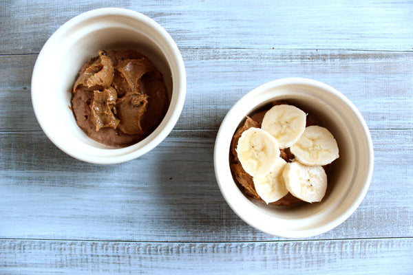 Peanut Butter & Banana Baked French Toast with PB Yogurt Sauce - Dollop 2 tablespoons peanut butter on top of each bread circle in the ramekin. Arrange 1/4 of the banana slices over the top of each.