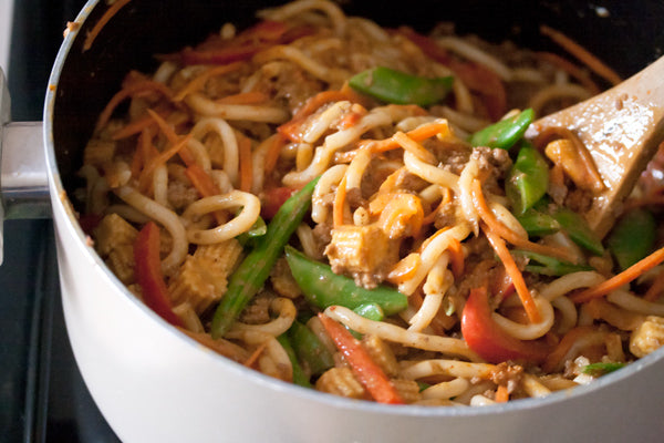 Spicy Peanut Butter Noodles with Ground Beef - Stir into the noodles and cook for 2 minutes