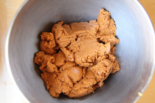 Spicy Lemon Peanut Cookies with The Heat Is On Peanut Butter - beat until a smooth dough forms