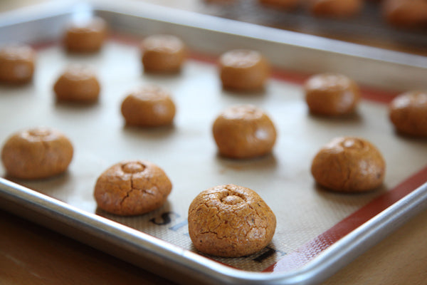 Spicy Lemon Peanut Cookies with The Heat Is On Peanut Butter - bake for 15 to 18 minutes, or until the cookie starts to crack a bit on top and the sides start to brown a bit