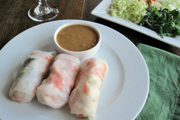 Spring Rolls with Asian-Inspired Peanut Butter Sauce - Dip into peanut butter sauce and enjoy!