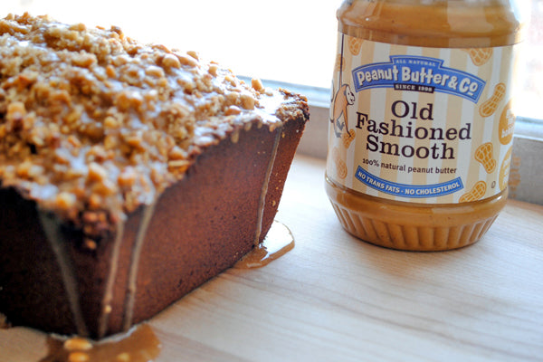 Salted Peanut Butter Coffee Cake - drizzle the peanut butter glaze over the salted peanut crumb