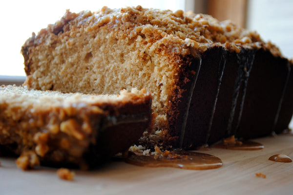 Salted Peanut Butter Coffee Cake - coffee cake has completely cooled