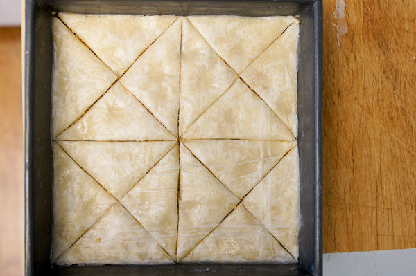 White Chocolate Peanut Butter Baklava - then use a sharp knife to cut the baklava up