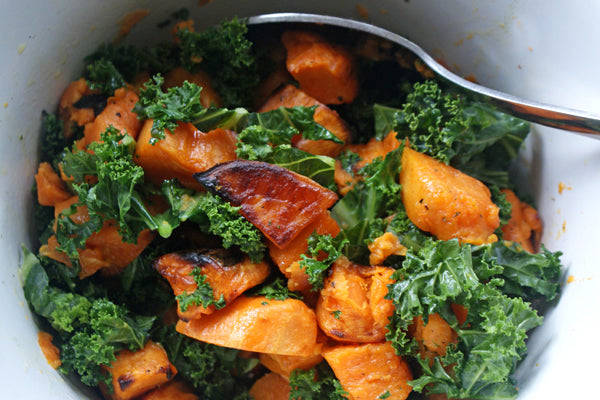 Roasted Sweet Potato Salad with Peanut Butter Dressing - stir gently (the potatoes will be soft once cooked) to combine