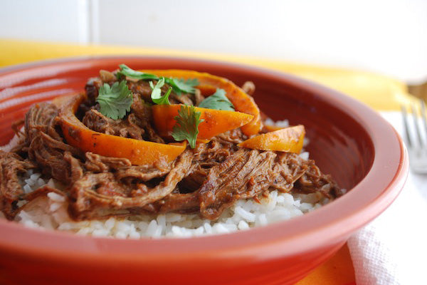 Dark Chocolate Peanut Ropa Vieja (Shredded Beef Stew)