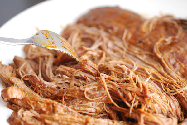 Dark Chocolate Peanut Butter Ropa Vieja (Shredded Beef Stew) - Remove the meat from the pot and use two forks to shred