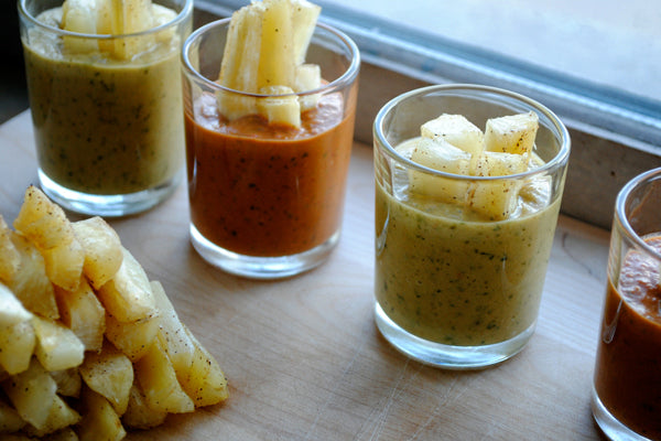 Baked Yucca Fries with Pineapple Peanut and Spicy Tomato Peanut Sauces