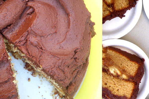 Peanut Butter Cake with Caramelized Bananas and Chocolate