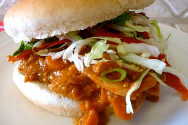 Peanut Butter Pulled Chicken Sandwiches with Honey Lime Slaw