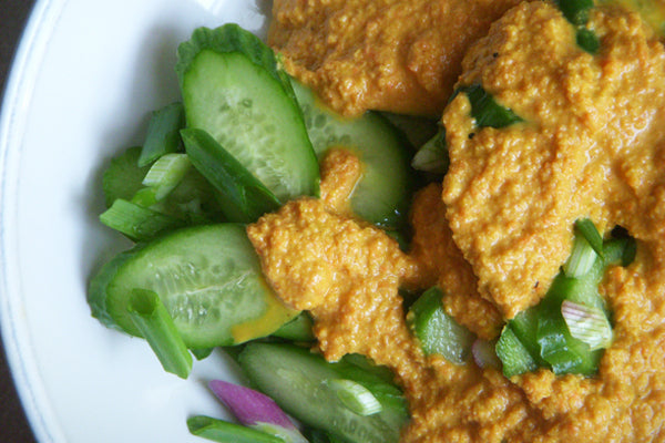 Peanut Butter, Carrot and Ginger Dressing on Cucumber Salad