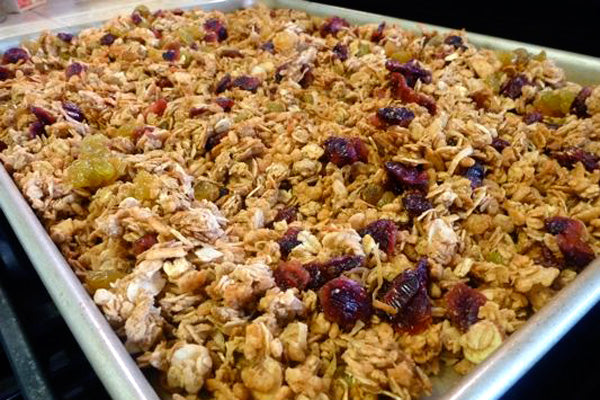 Maple Peanut Butter Granola - Stir in the dried fruit