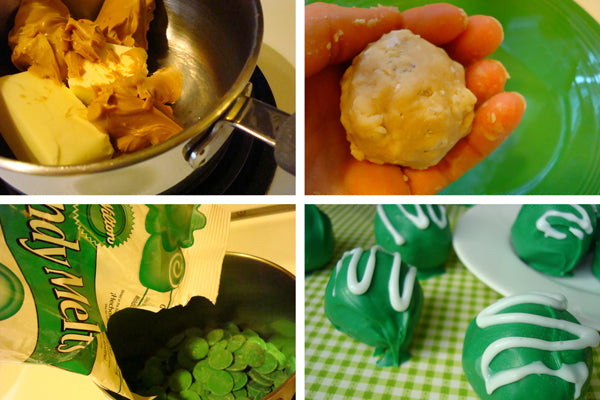 St. Patrick's Day Peanut Butter Truffles - In large separate bowl, stir together the confectioners' sugar and cereal. Pour peanut butter mixture over cereal mixture.