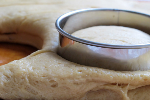 Peanut Butter and Jelly Doughnuts - use a 3-inch cutter to cut dough into rounds