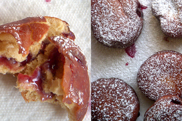 Peanut Butter and Jelly Doughnuts - Pipe jelly into center of doughnuts; dust with confectioner's sugar before serving.