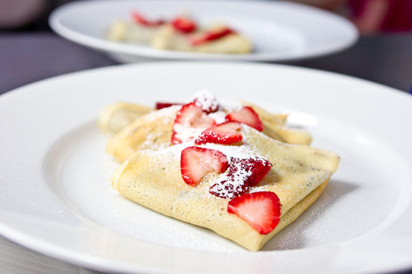 Dark Chocolate Peanut Butter and Strawberry Crepes