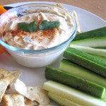 Peanutty Yogurt Dip with Baked Pita Chips and Vegetables