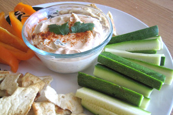 Peanutty Yogurt Dip with Baked Pita Chips and Vegetables - Serve with baked pita chips and fresh vegetables