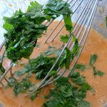 Whisked wet ingredients and cilantro