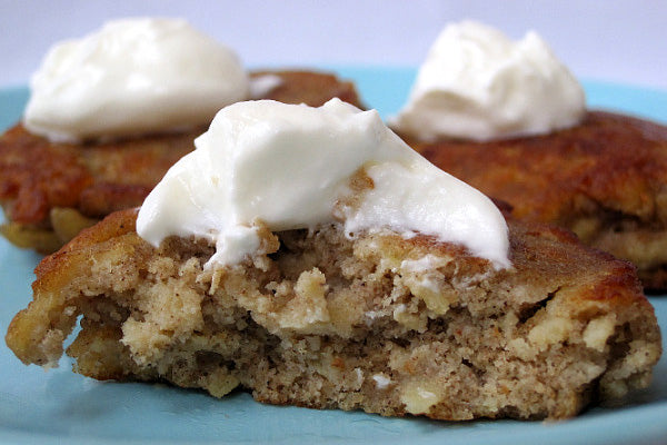 Apple Peanut Butter Latkes - Drain on paper towels and serve warm with the topping of your choice