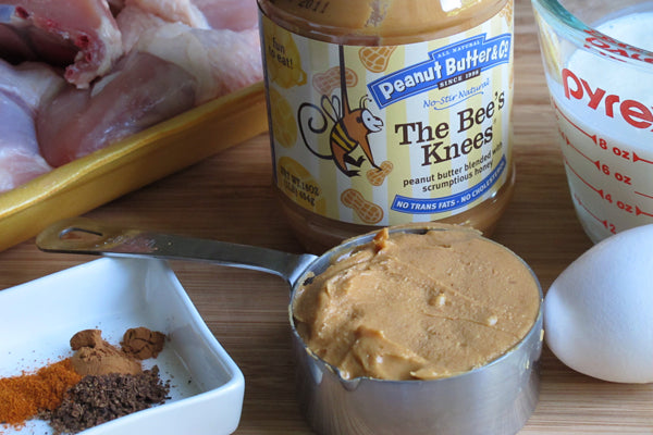 Peanut Butter-Marinated Spiced Fried Chicken - Peanut Butter & Co. The Bee's Knees Peanut Butter