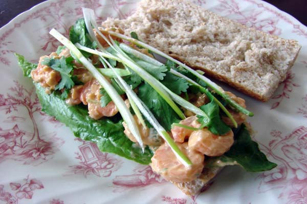 Spicy Thai Peanut Shrimp Salad Sandwich - Top each mini baguette with one leaf of lettuce and divide the shrimp filling between the four sandwiches