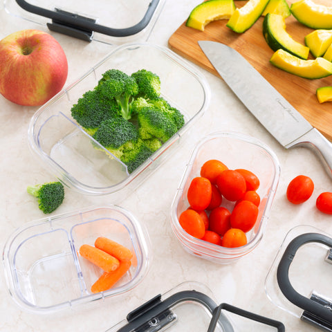 Vegetables in Plastic Food Prep Storage Containers