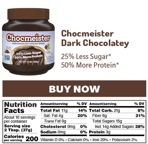 chocmeister dark chocolatey nutrition panel