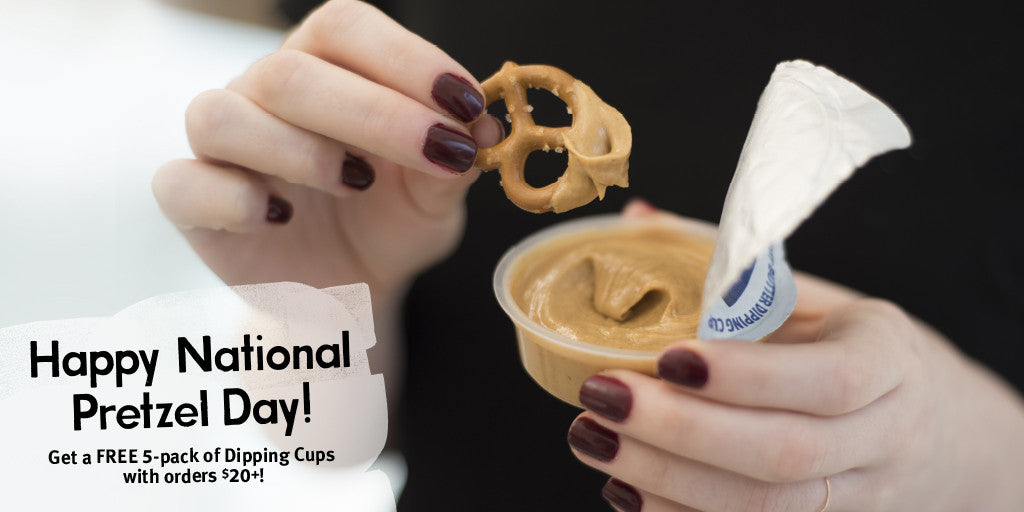 happy national pretzel day. get a free 5-pack of dipping cups with any order $20 or over